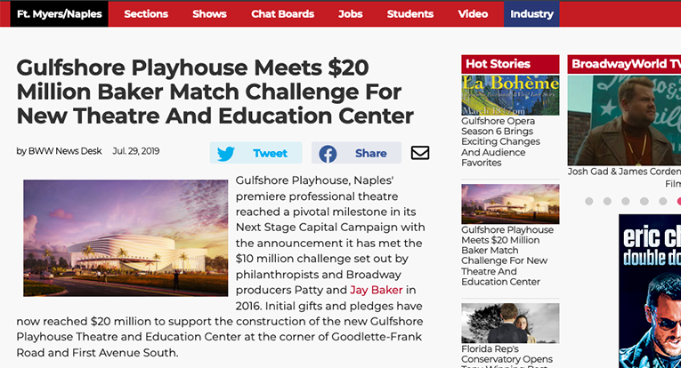 Morans Make Gift to Gulfshore Playhouse