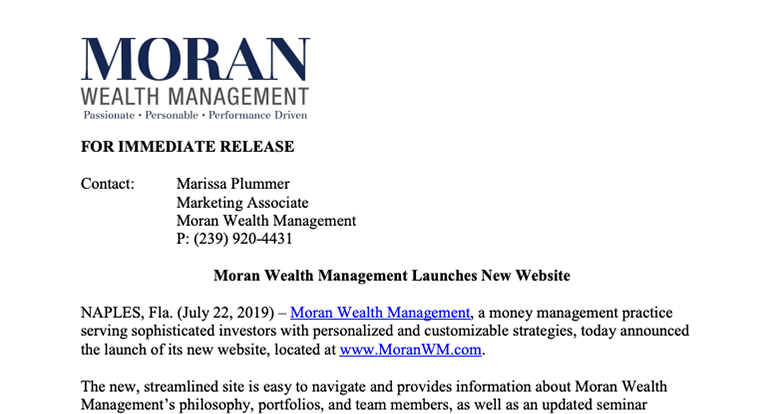 Moran Wealth Launches New Website